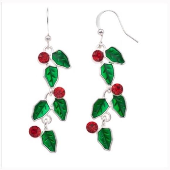 Jewelry - Holly Leaf Nickel Free Drop Earrings